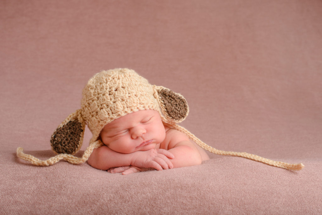 Cute newborn in lamb hat